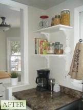 DIY open kitchen shelving