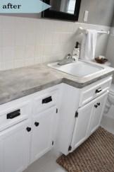 DIY concrete countertops + updated vanity