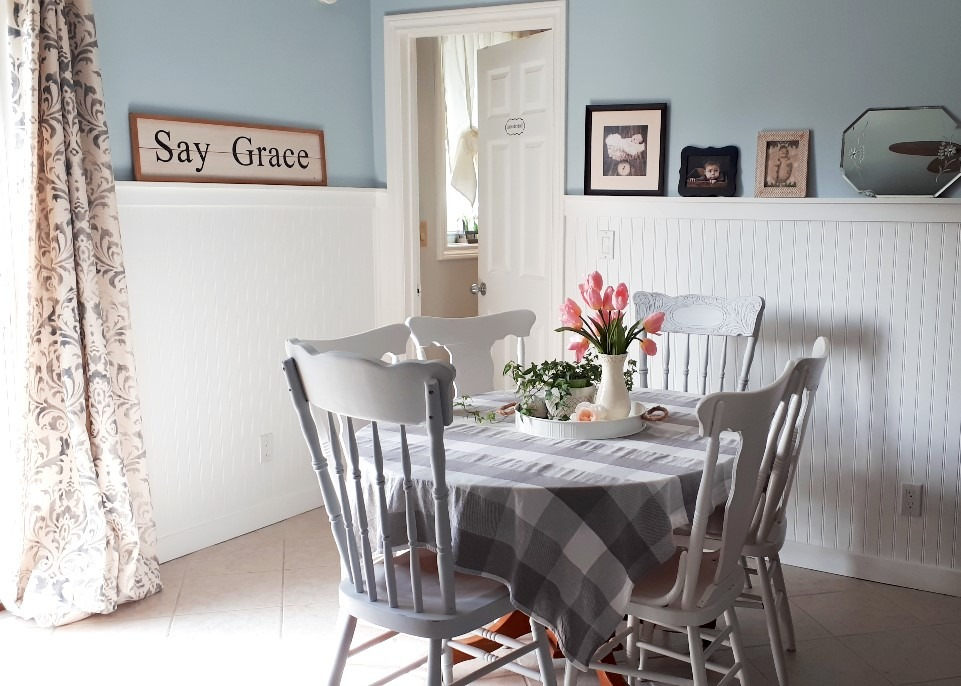 dining room with pressback chairs