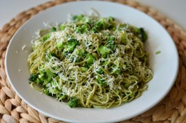 Simple broccoli cilantro pasta dish.