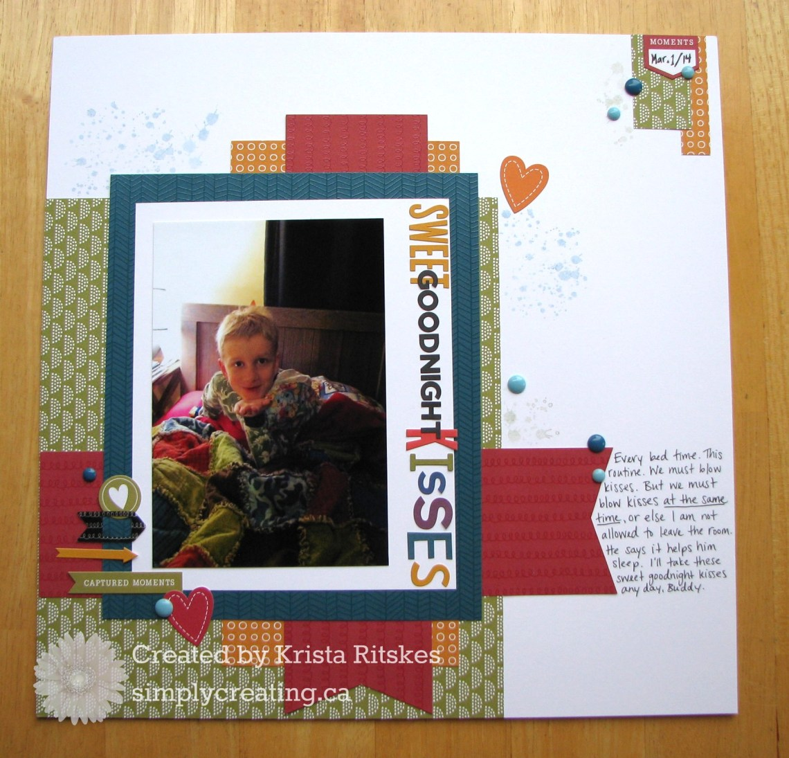 Sweet Goodnight Kisses Layout by Krista Ritskes