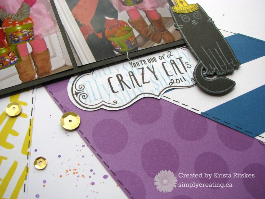 Crazy cat page by Krista Ritskes title close up #simplycreating