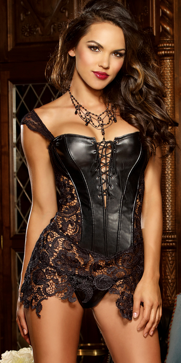 black faux leather and venice lace corset sexy womens