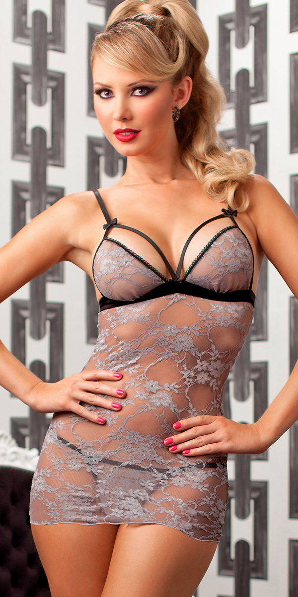 stretch glamour and grey chemise with g-string sexy womens