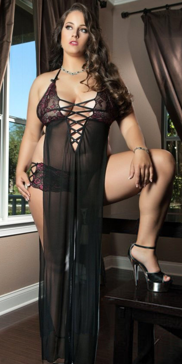 plus size black sheer low cut night gown set sexy womens