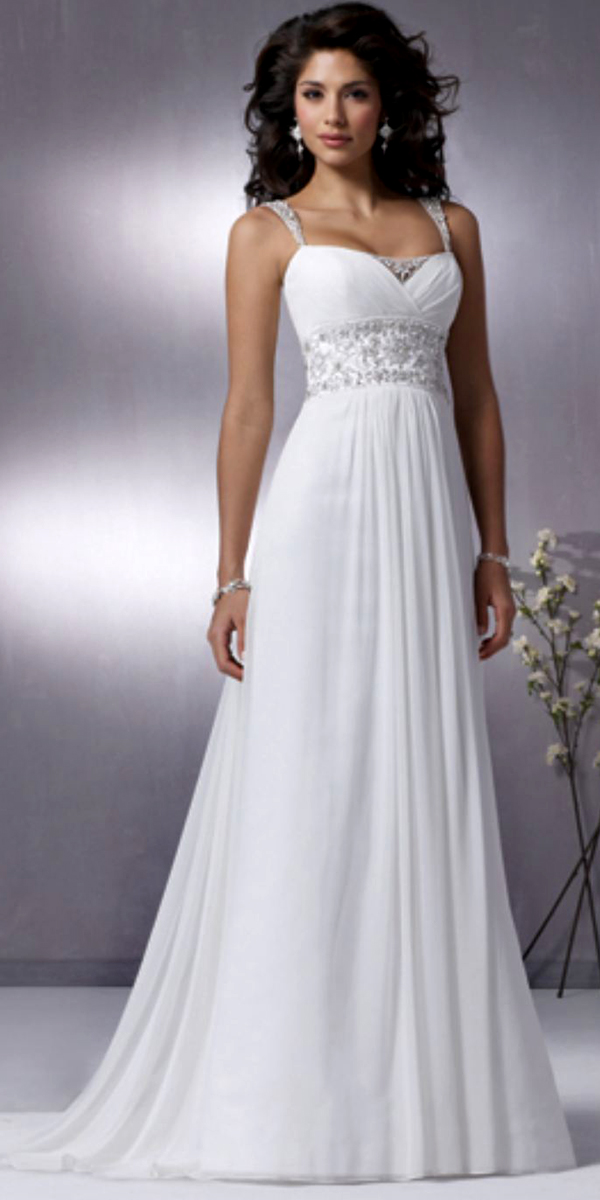 a-line applique chiffon beaded wedding dress with open back sexy womens bridal gowns