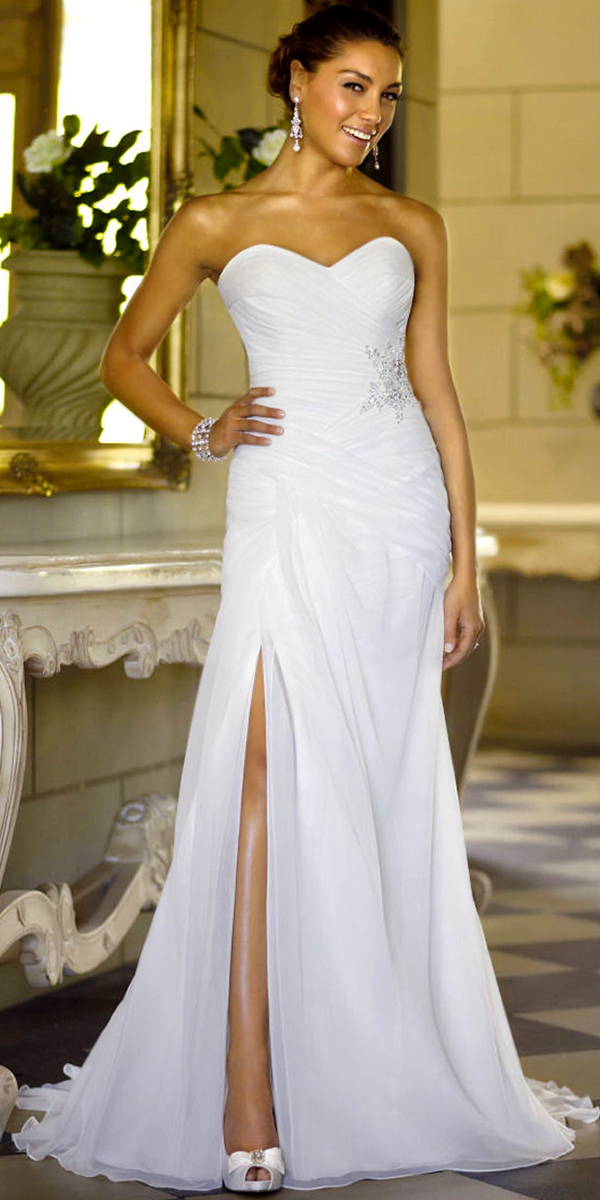 a-line chiffon beaded sweetheart wedding dress with court train sexy womens bridal gowns