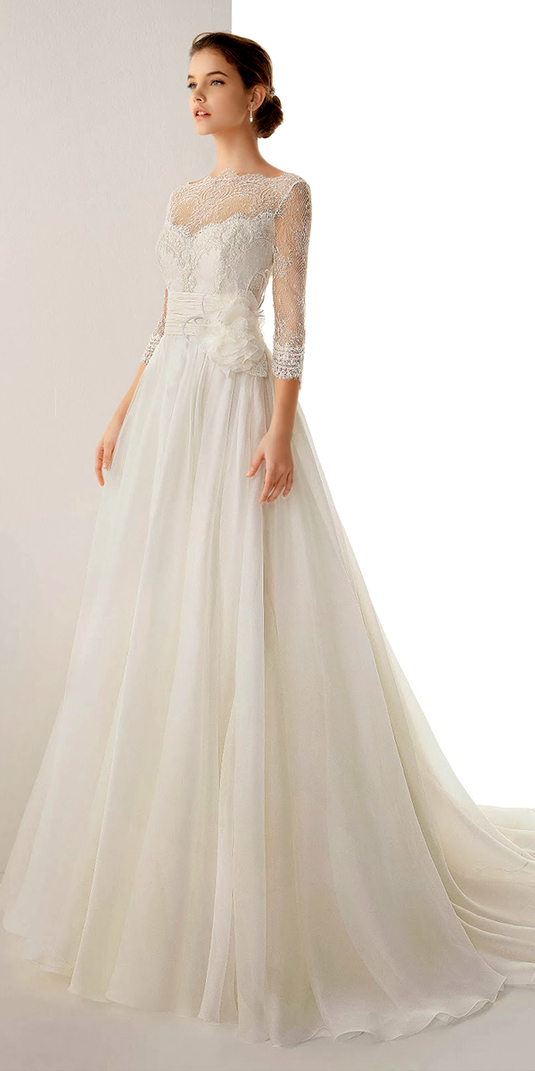 a-line chiffon lace organza wedding dress with sleeves sexy womens bridal gowns