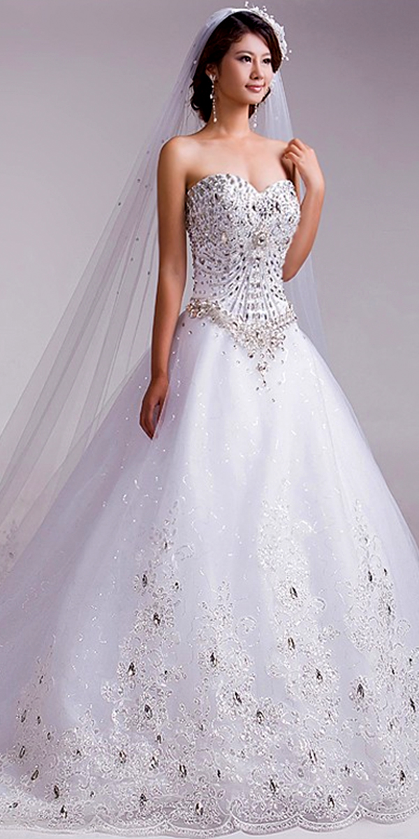 a-line rhinestone crystal lace wedding dress sexy womens bridal gowns