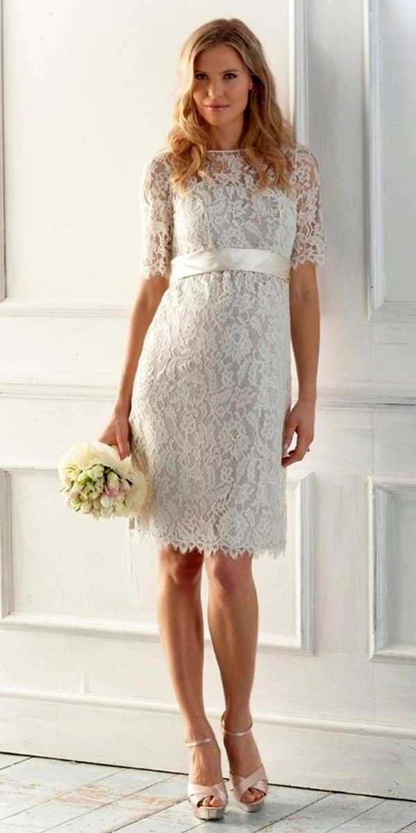 a-line short lace maternity wedding dress sexy womens bridal gowns