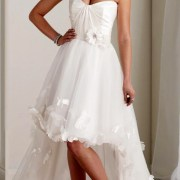 applique organza tulle a-line wedding dress with short front and long back sexy womens bridal gowns