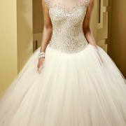 crystal beaded tulle corset wedding dress with cap sleeves sexy womens bridal gowns