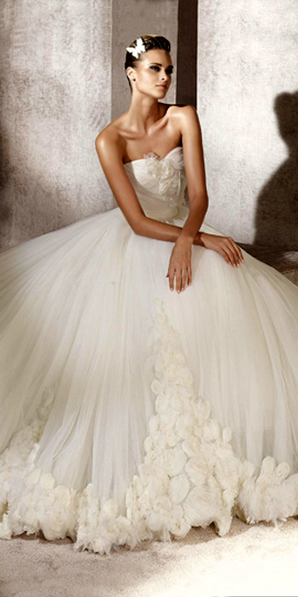 flowered princess wedding dress with court train sexy womens bridal gowns