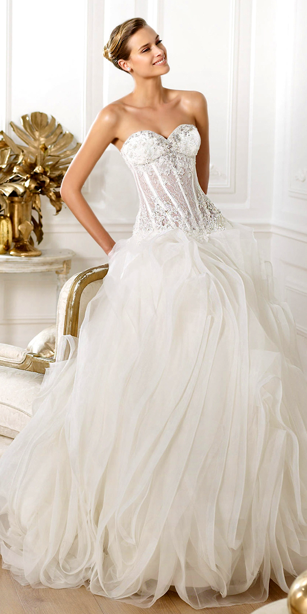 sweetheart beading tulle ruffled long wedding dress sexy womens bridal gowns