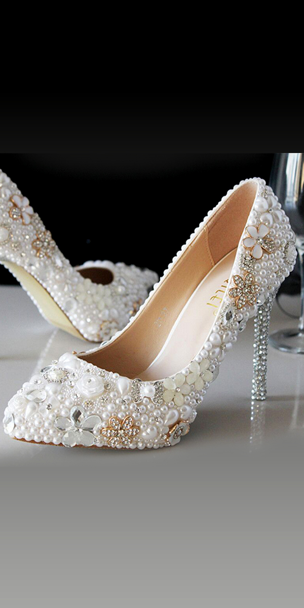 beaded diamond and pearls pointed high heel pumps sexy womens bridal shoes