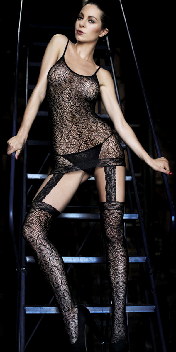 black chemise two-piece fishnet bodystocking sexy womens lingerie