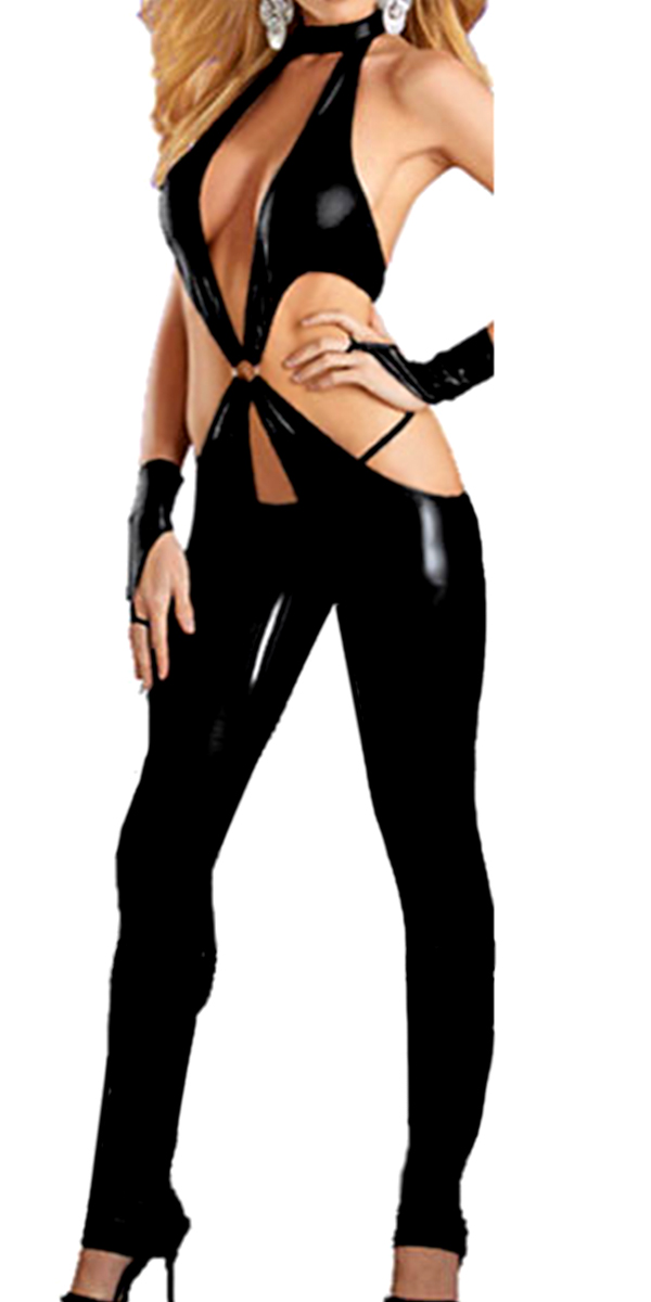 black faux leather open-bust bodysuit sexy womens costumes