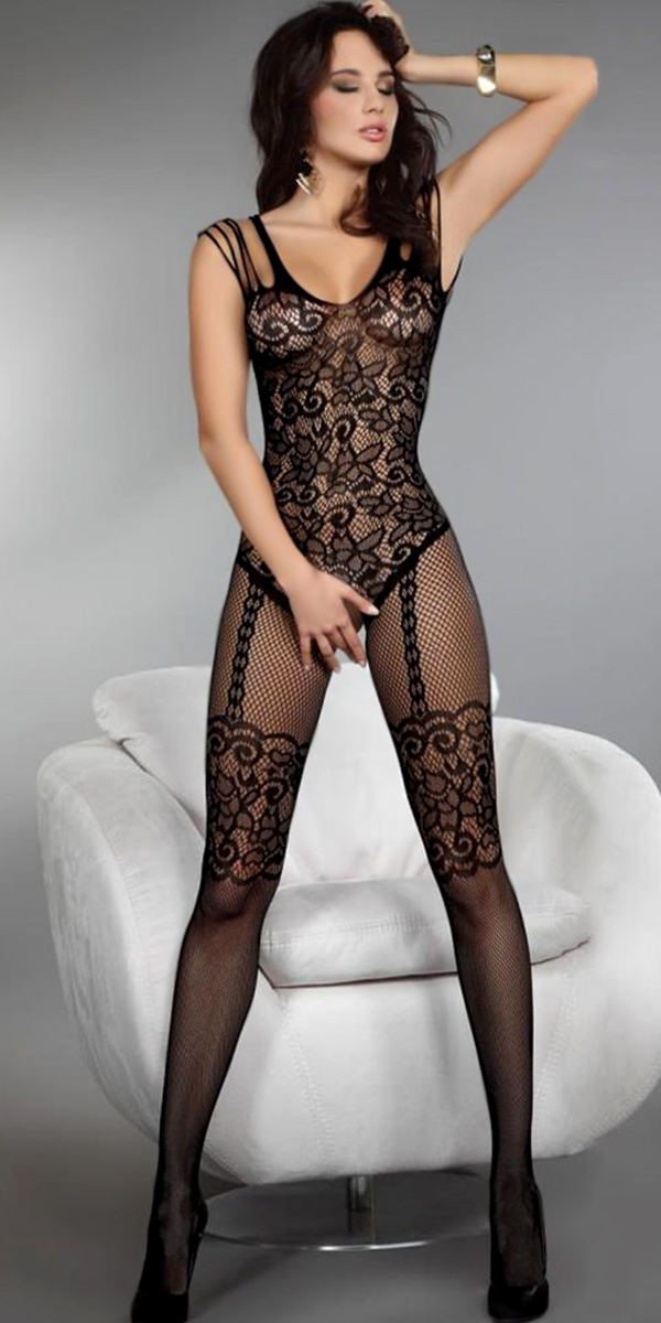 black flower pattern mesh crotchless bodystocking sexy womens lingerie