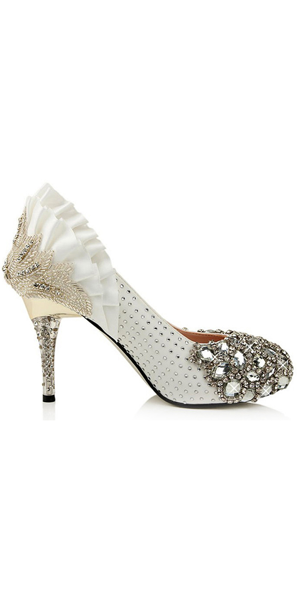 crystal lace flower high-heel bridal shoe sexy womens wedding accessories