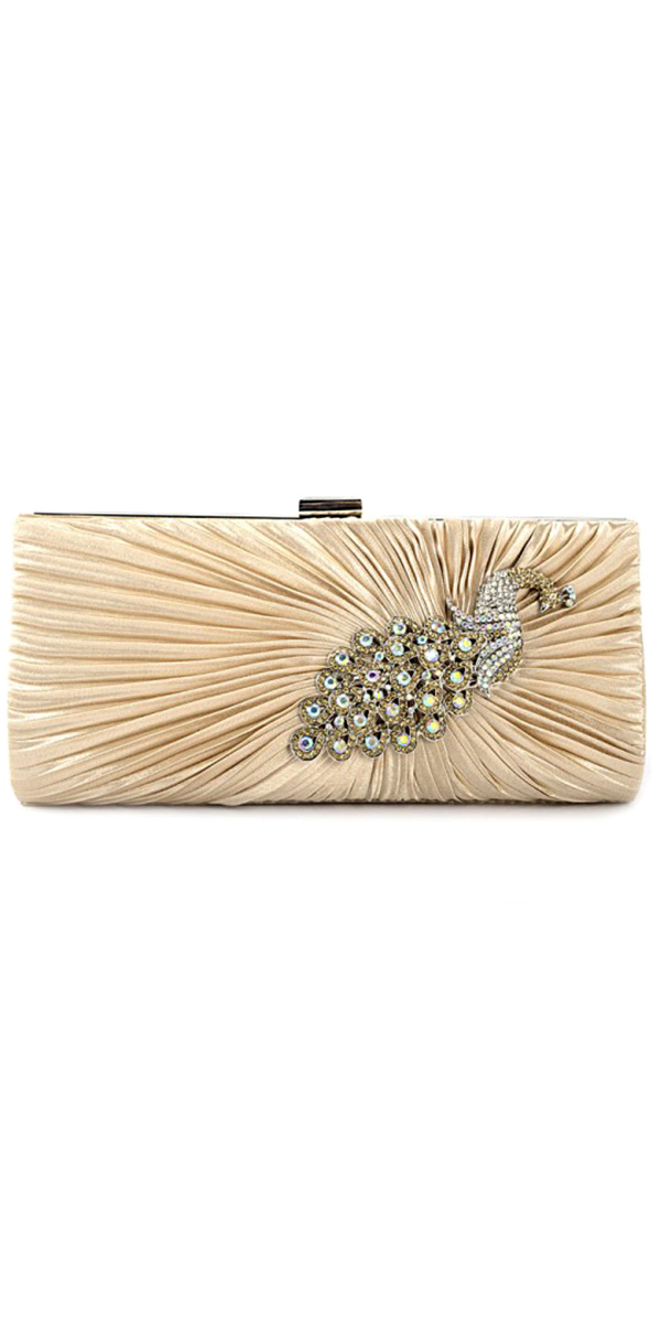 crystal peacock satin evening clutch bag sexy womens wedding accessories