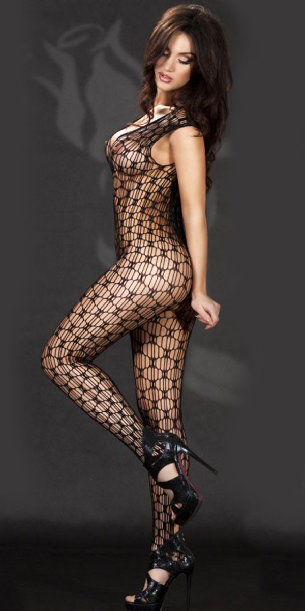 hollow-out sleeveless v-neck bodystocking with open crotch sexy womens lingerie