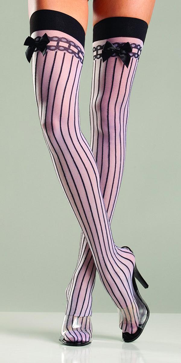 nylon pinstripe stockings with bow