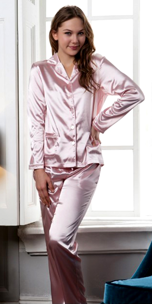 long-sleeve silk pajama set sexy womens lingerie