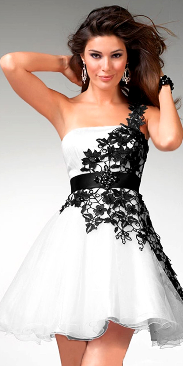 white one-shoulder evening gown with black floral embroidery sexy womens lingerie