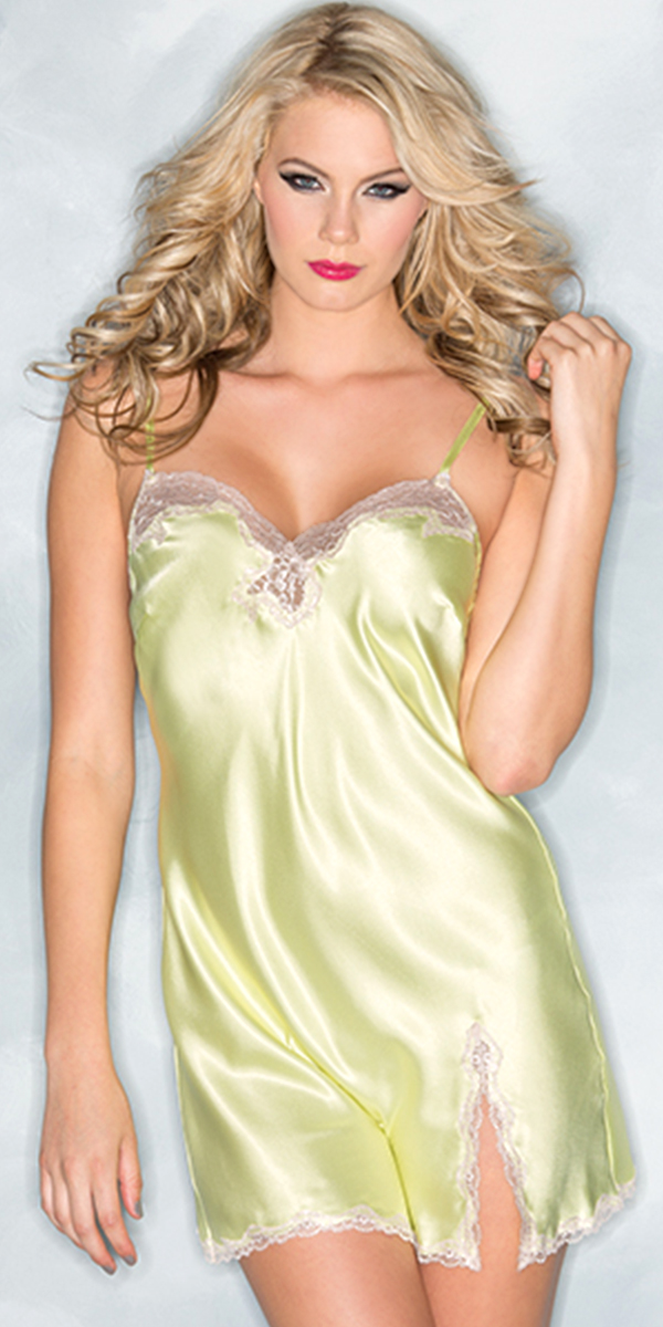 one piece yellow satin babydoll with lace trim sexy womens clothing