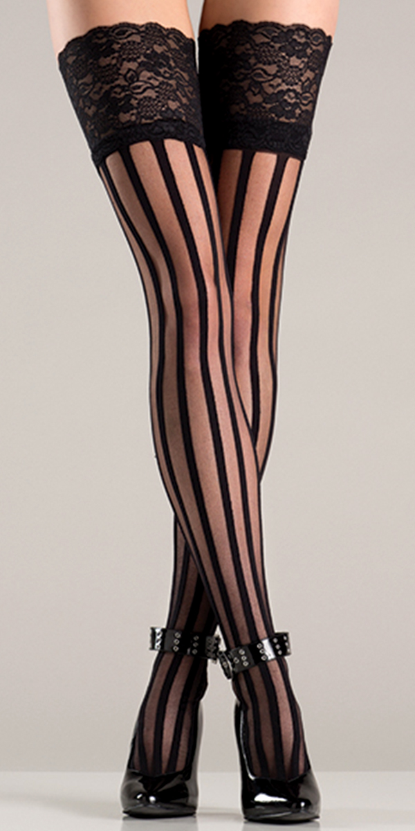 black striped stockings with wide lace top sexy ladies hosiery