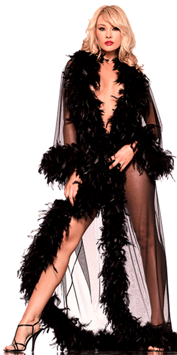 glamour robe with feather trim black sexy womens lingerie