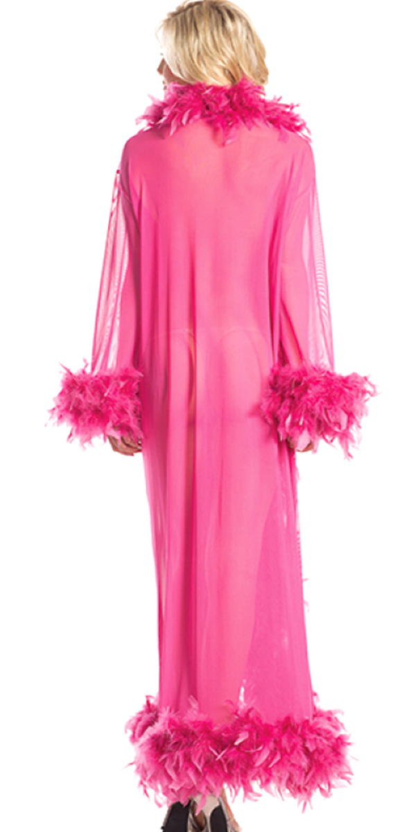 glamour robe with feather trim fuchsia sexy womens clothing