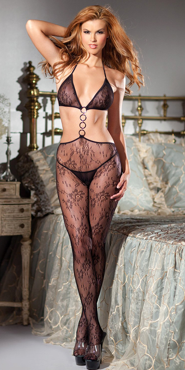 black lace cutout bodystocking with halter top sexy women's bodysuits