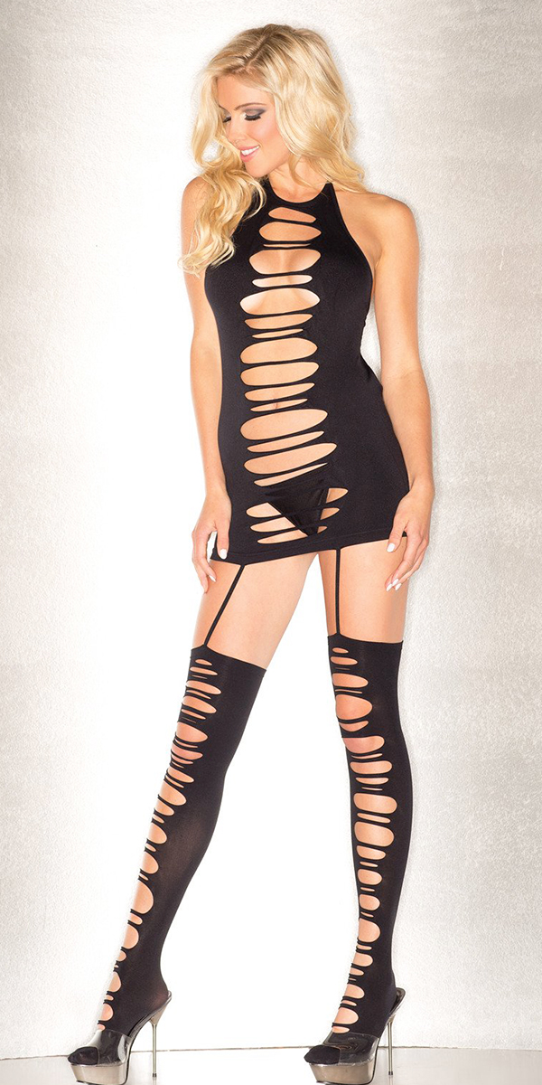 seamless shredded black halter dress with matching stockings sexy women's dresses