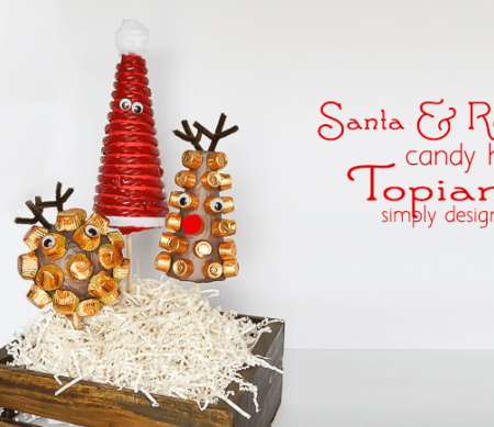 Santa and his Reindeer Candy Holiday Topiaries