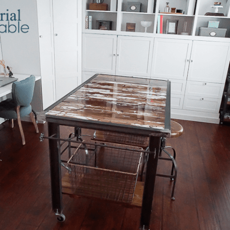 DIY Industrial Work Table with Barn Wood