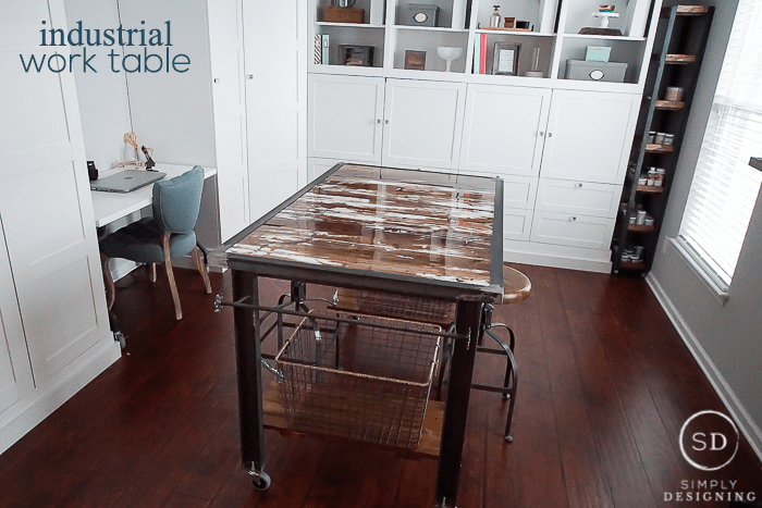 Industrial Work Table - this insustrial work table incorporates beautiful rustic barn wood and metal details