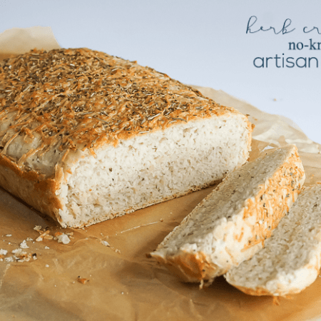 Herb Crusted No-Knead Artisan Bread Recipe