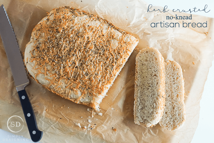 Herb Crusted No-Knead Artisan Bread