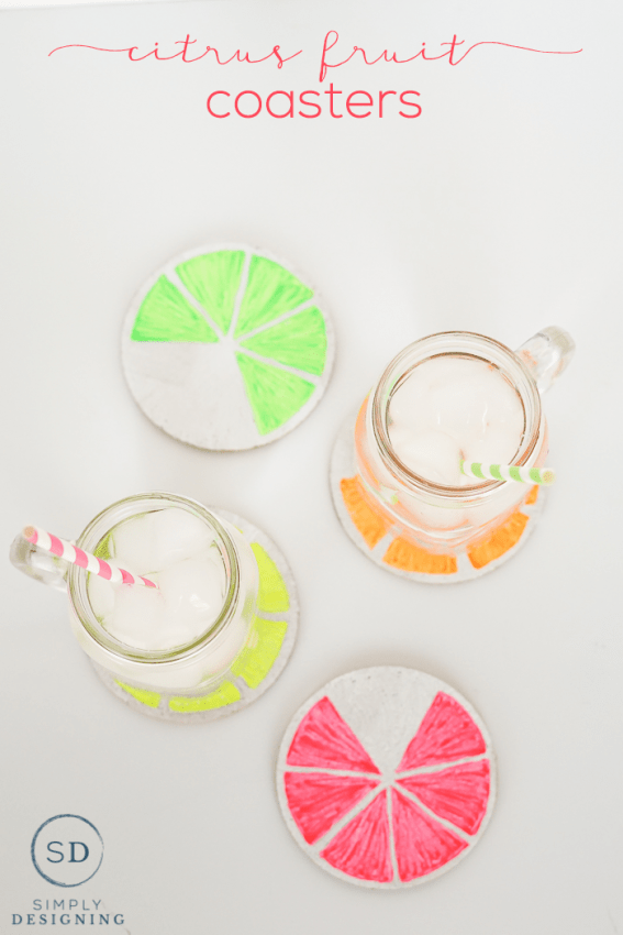 diy citrus fruit coasters - such a fun and simple craft project perfect for spring or summer