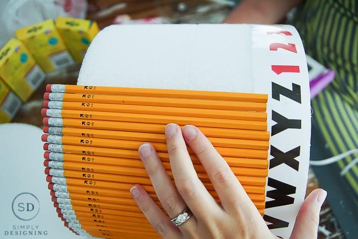 School Supply Cake - glue on school supplies