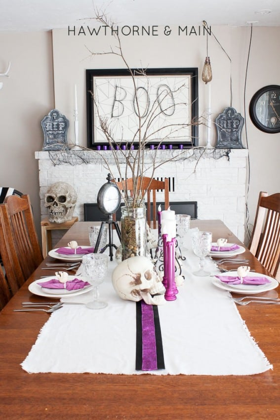 Halloween Dining Room and Mantel Decor of Hawthorne and Main