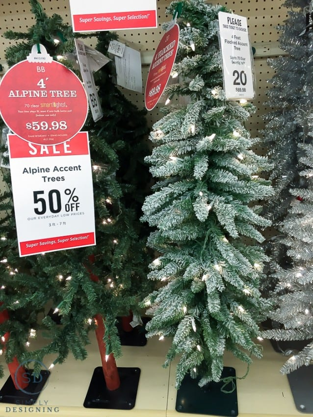 Skinny Christmas Trees Decorated Color Lights