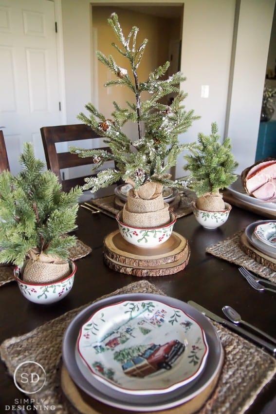 Vintage Farmhouse Holiday Table Setting