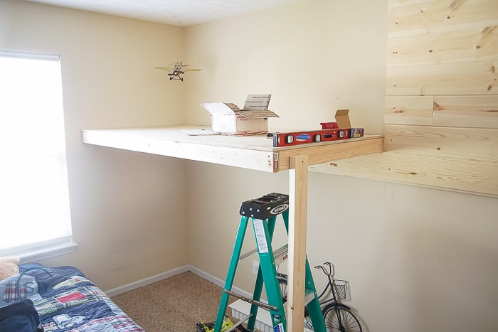 Industrial Loft Bed with Shiplap Style Wall