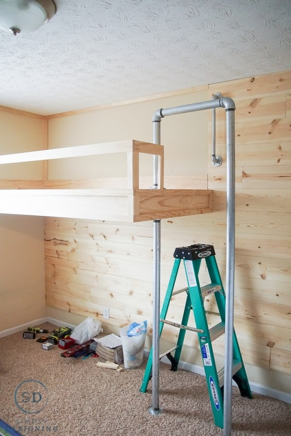 Industrial Loft Bed with firemans pole