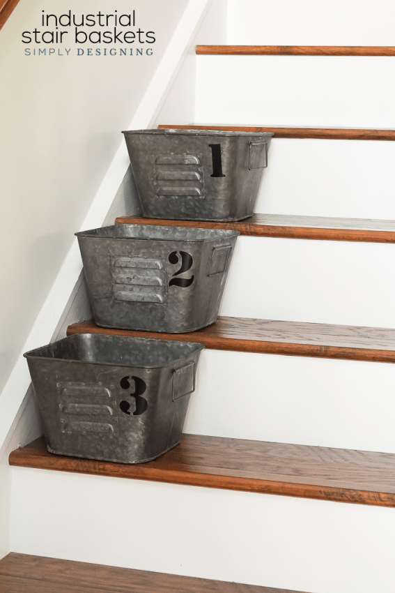Industrial Stair Baskets - a simple and beautiful way to create organization and order in your home