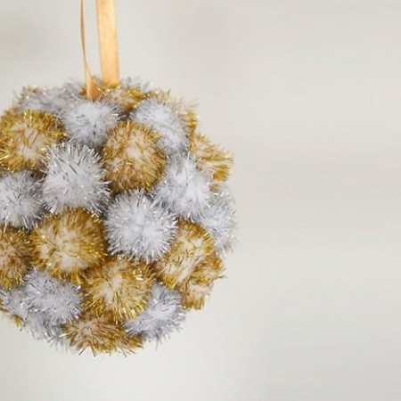 Silver and Gold Pompom Kissing Ball