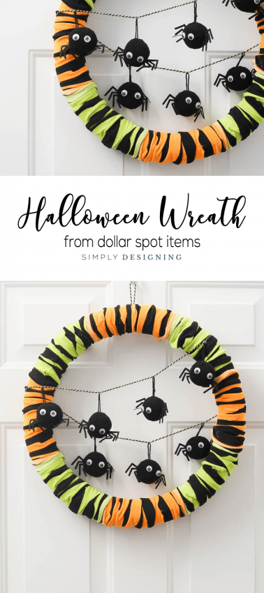 Easy Halloween Wreath - made with items from the dollar spot - cheap halloween wreath