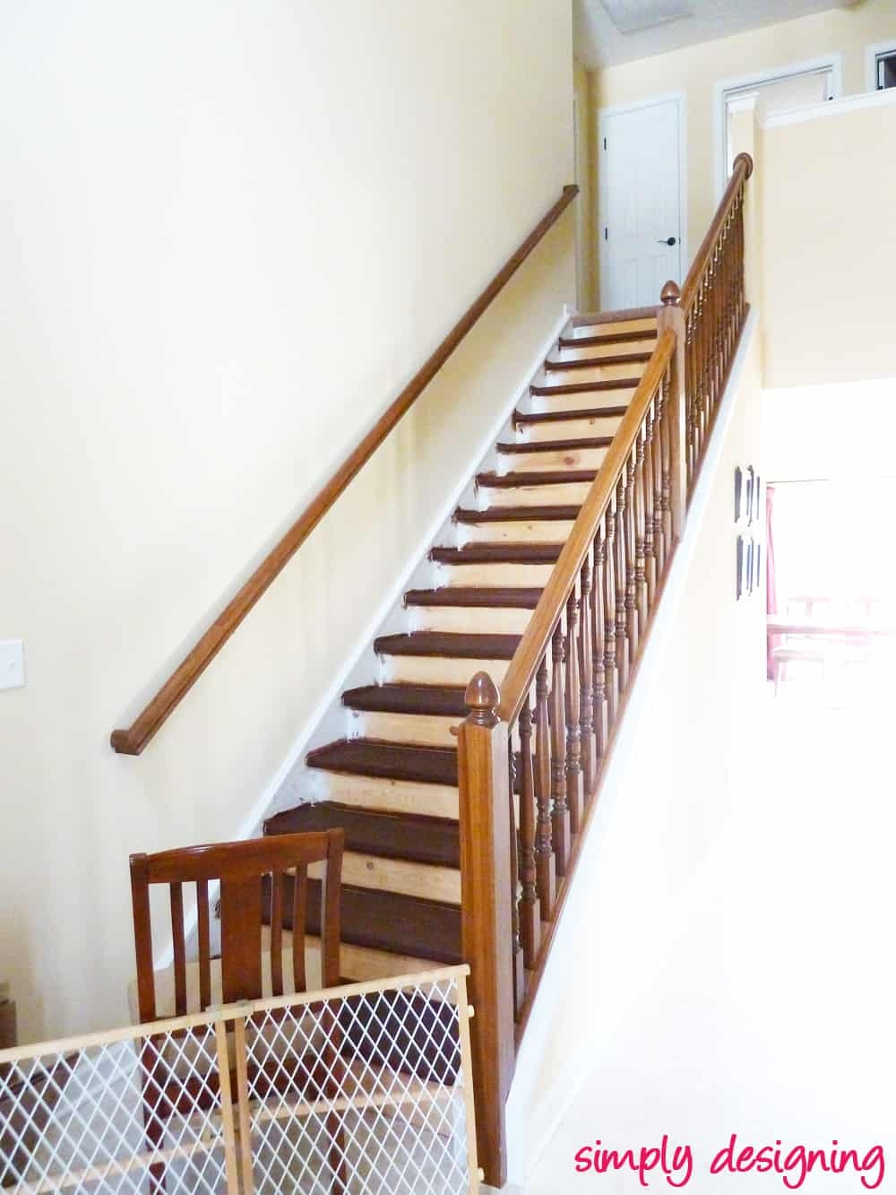 Staircase Make Over Part 2 Mistakes To Avoid And How To Do It Right | Dark Wood Stair Treads | Timber | White Handrail | Dark Stained | Natural Wood | Wood Finish